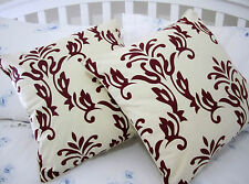 2 Cushion Cover: RED 100% natural beige cotton canvas decorative slip sofa throw