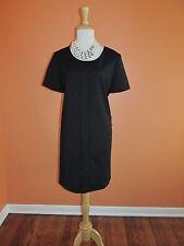 New Comptoir Des Cotonniers Size 12/44 Black Lace Trim Short Sleeve Shift Dress