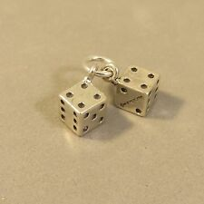 .925 Sterling Silver 3-D MOVEABLE PAIR OF 2 DICE CHARM NEW Pendant 925 HB02