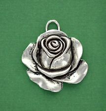4 Large ROSE Charm Pendant Connector Links silver tone 36mm x 32mm chs0782