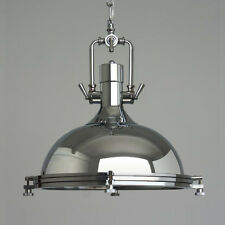 Industrial Retro Polished Chrome Pendant Lamp Lampshade Ceilling Down Drop Light