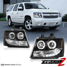 2007-2014 CHEVY AVALANCHE SUBURBAN TAHOE Halo LED Projector Headlight Lamp Black