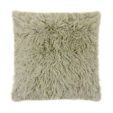 "SUPERSOFT SHAGGY FAUX FUR SUEDE TAUPE BEIGE CUSHION COVER 16"" - 40CM"