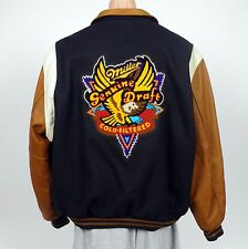 Vintage Miller Genuine Draft Embroidered Letterman's Jacket Wool Leather MGD USA