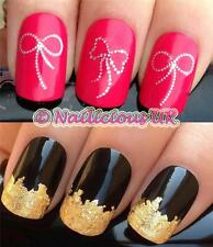 NAIL ART SET #30. DOTTY BOWS WATER NAIL TRANSFERS/DECALS/STICKERS & GOLD LEAF