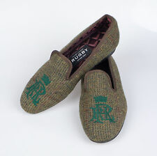 New. RUGBY RALPH LAUREN England Green Tweed Slippers Shoes 7 $450