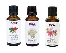 Now Foods Essential Oils Relaxing 3 Pack - Rose Hip Seed, Jasmine, Geranium Oil