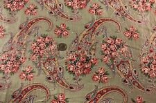 "Antique Paisley & Roses Dress Cotton Yardage c. 1910~3 yds 3""L~Quilters,Sewing"