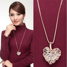 Women Hollow Gold Silver Crystal Rhinestone Pendant Long Chain Necklace Jewelry