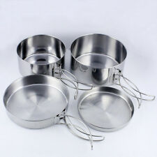 Stainless Steel Cooking Pot / Pan Cookware Utensil Camping BBQ Tool 4 in 1 Set