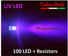 100 LED UV Ultravioletti + Resistenze, LED Ultraviolet 5 mm + Resistors