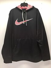 Nike Therma-Fit Black/Hot Pink/Coral Pullover Hoodie Womens sz XL