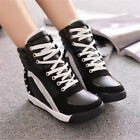 Women Sneakers Sports Rivet Hidden Wedge Heel High Top Soft Shoes Summer Hot