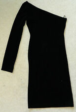 MOTEL BLACK VELVET ONE LONG SLEEVE DRESS MINI SHORT BODY CON. NWOT UK XS 6 - 8