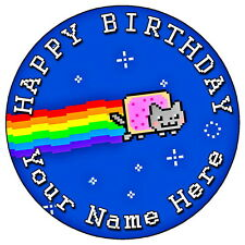 """NYAN CAT COOL PARTY - 7.5"""" PERSONALISED ROUND EDIBLE ICING CAKE TOPPER"""