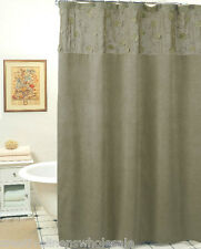 Morning Leaf Suede Fabric Shower Curtain Sage Green New Creative Linens