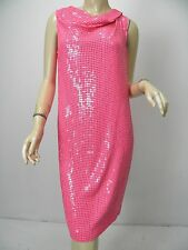 DIANE VON FURSTENBERG Mariah Embellished Hot Pink Sequin Silk Dress sz 4 NWT