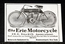 1909 OLD MAGAZINE PRINT AD, THE ERIE MOTORCYCLE, 3 H.P. $175, AGENTS WANTED!