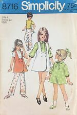 Vtg 1970s Simplicity 8716 Pattern Girls Jumper Tie Bow Dress Tunic & Pants Sz 4