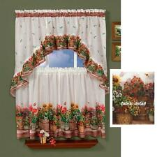 3 PC Country GARDEN Kitchen Curtains Tier & Swag Set Sunflowers Flower Pots