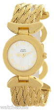 Anne Klein ll Womens White Tone Dial Gold Tone Metal Bracelet Watch 10/1696-7