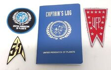 STAR TREK  Captain's Log UFP Notebook with Embroidered Patch Set of 3- FREE S&H