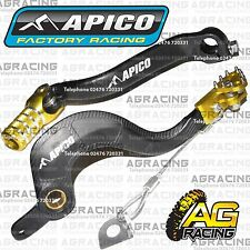 Apico Black Yellow Rear Brake & Gear Pedal Lever For Suzuki RMZ 450 2010 MotoX