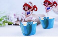 Cupcake Cup Cake Decorating,Toppers Wrappers PARTY DECORATION, Little Mermaid