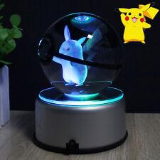 3D Pokemon Pikachu Boule de Cristal Lumière Veilleuse Lampes de Table Cadeau