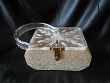 Vintage Florida Handbags Acrylic Box Purse Sliver-/Light Gold-tone Confetti