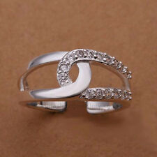 925 Sterling Silver Plated CZ CRYSTAL LOOP RING Thumb/ Wrap Ring. ADJUSTABLE