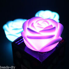 1PC 7-Colors LED Night Light Changing Rose Flower Decor Romantic Candle Lamp New