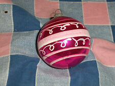 "Old Christmas Ornament Japan  White on Red Horizontal Lines 2 13/16"" High w/Loop"