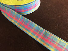 "50 Yards! EasterSpring Plaid Wired Ribbon 1.5"" Wide Wholesale Lot Bulk"