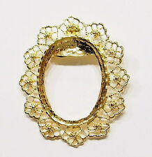 4 of 40x30 mm Gold Old Style Flower Wreath Design Brooch Pin Pendant Settings
