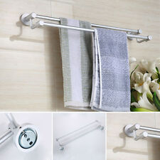 Aluminum Double Round Towel Rack Holder Hanger Rail Bars Wall Mount Bath Shelf