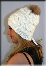 New White Ivory Cable Knit Beanie Blush Fox Fur Pom Pom Efurs4less