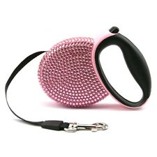 Pink Shining Pet Dog Lead Retractable Leash Rope Extend Flexible Lock 9 Feet