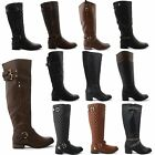 WOMENS LADIES QUILTED ZIP BUCKLE RIDING LONG BELOW KNEE HIGH LADIES BOOTS SIZES