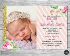 FLORAL CHRISTENING BAPTISM INVITATION INVITE CARD PERSONALISED GIRL PINK GOLD