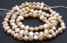 "Vente 4-5mm natural pink freshwater baroque pearl loose bead 14""-los466 free ship"