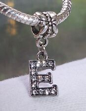 Letter E Rhinestone Alphabet Initial Dangle Bead for European Charm Bracelets