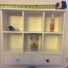 """Bed / Bath White Wall Cabinet Shelf 16""""x17.5"""" Glass Or Brass Knobs Both Sent"""