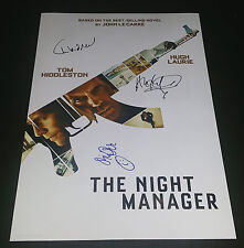 "THE NIGHT MANAGER PP X3 SIGNED 12""X8"" A4 PHOTO POSTER TOM HIDDLESTON HUGH LAURIE"