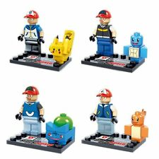 4 Sets Pokemon Mini Figures Lot Pocket Monster Pikachu Charmander Blocks Toy