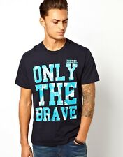 DIESEL  T-BURT  T-SHIRT-TOP- LARGE- NAVY RRP £35 -LOGO DESIGN -ONLY THE BRAVE