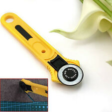 Circular Yellow Rotary Cutter Blade Patchwork Fabric Leather Craft Sewing Tools