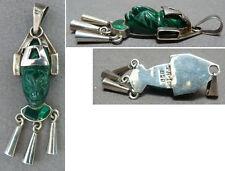 Pendentif  en argent massif + malachite précolombien silver pendant Perou