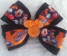 "Girls Hair Bow 4"" Spooky Halloween Mickey Minnie Sparkly Flatback Alligator Clip"