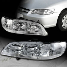 For Honda Accord Coupe/Sedan Chrome Housing W/ Clear Reflector Headlights Lamps